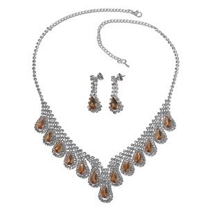 "Jewelry - Champagne/White Drop Earrings & 22"" BIB Necklace"